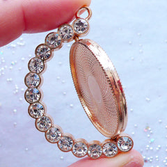Rotating Pendant | Round Bezel Tray with Rhinestones | Movable Bezel Setting Charm | Blank Bezel Cup | UV Resin Jewellery Making (1 piece / Gold / 38mm x 48mm)