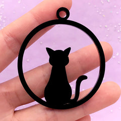 Black Acrylic Open Bezel Charm for UV Resin Craft | Cat Pendant | Kawaii Kitty Deco Frame | Resin Jewelry Supplies (1 piece / Black / 49mm x 57mm / 2 Sided)