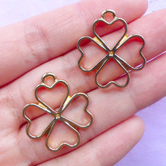 Four Leaf Clover Open Bezel Pendant | 4 Leaf Clover Outline Charm | Floral Deco Frame for UV Resin Jewellery Making | Kawaii Resin Crafts (2pcs / Gold / 23mm x 26mm)