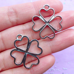 4 Leaf Clover Open Back Bezel Charm | Four Leaf Clover Deco Frame for UV Resin Filling | Outlined Floral Pendant | Kawaii Resin Jewelry Supplies (2pcs / Silver / 23mm x 26mm)