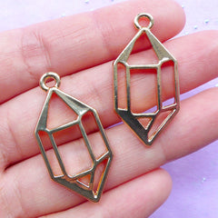 Crystal Point Open Bezel Pendant | Faceted Crystal Drawing Charm | Quartz Deco Frame for Resin Filling | UV Resin Jewelry Supplies (2pcs / Gold / 17mm x 34mm)