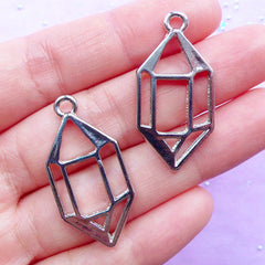 Quartz Open Back Bezel Charm | Faceted Crystal Point Pendant | Deco Frame for UV Resin Filling | Kawaii Jewelry Supplies (2pcs / Silver / 17mm x 34mm)