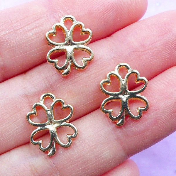 Small Clover Open Bezel Charm | Mini Four Leaf Clover Drop | Floral Deco Frame for UV Resin Filling | Kawaii Resin Craft Supplies (3pcs / Gold / 11mm x 14mm)
