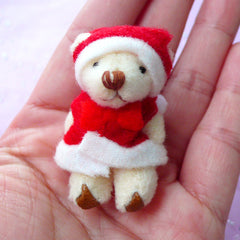 Christmas Toy Charm | Santa Claus Bear | Soft Plush Fabric Animal Doll (26mm x 45mm)