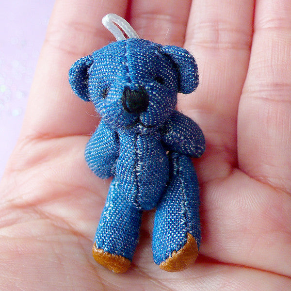 Denim Bear Charm | Mini Soft Plush Toy | Fabric Animal Doll (25mm x 45mm)
