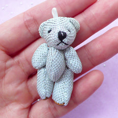 Soft Plush Bear Charm | Mini Animal Doll | Bling Bling Fabric Toy (25mm x 45mm)