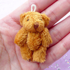 Furry Bear Charm | Mini Stuffed Animal Toy | Fabric Soft Plush Doll (29mm x 45mm)