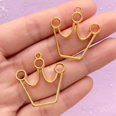 Crown Open Bezel Charm | Cute Deco Frame for UV Resin Filling | Kawaii Jewelry Supplies (2 pcs / Gold / 29mm x 30mm / 2 Sided)