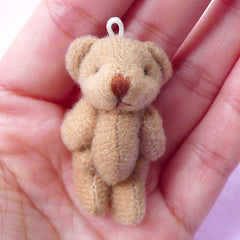 Soft Plush Toy Charm | Mini Bear Doll | Fabric Animal Toy (Light Brown / 24mm x 40mm)