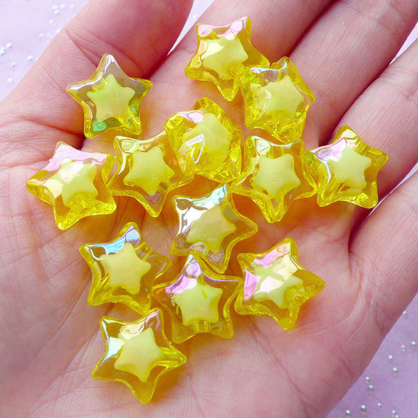Aurora Borealis Beads | Acrylic Star Beads (AB Yellow / 10 pcs / 16mm)