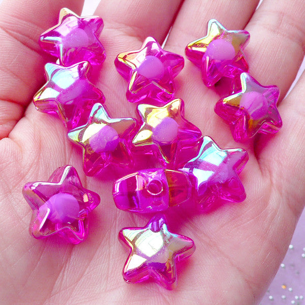 Acrylic Star Beads | Aurora Borealis Beads (AB Purple / 10 pcs / 16mm)