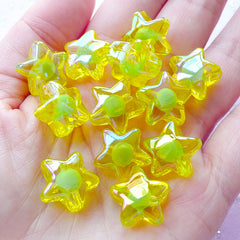 AB Star Plastic Beads | Aurora Borealis Acrylic Beads (Lime Yellow / 10 pcs / 16mm)