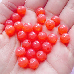 CLEARANCE 8mm Acrylic Bubblegum Beads | Round Jelly Candy Gum Ball Beads (Translucent Coral Pink / 50pcs)