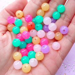 Jelly Candy Bead Mix | Assorted 8mm Round Gumball Acrylic Beads (50pcs)