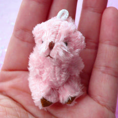 Mini Bear Charm | Furry Soft Plush Animal Doll | Fabric Stuffed Toy (Pink / 25mm x 43mm)