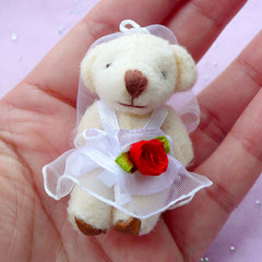 Bride Bear Charm | Mini Soft Plush Toy | Wedding Animal Doll (25mm x 47mm)