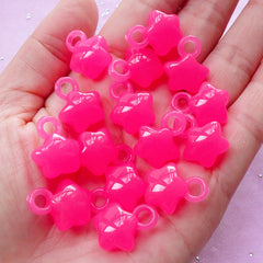 Acrylic Star Charms | Kawaii Jelly Candy Plastic Charm (Translucent Dark Pink / 15 pcs / 14mm x 18mm)