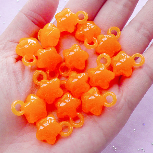 Cute Star Charms | Kawaii Jelly Candy Acrylic Charm (Translucent Orange / 15 pcs / 14mm x 18mm)