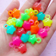 Star Acrylic Charm Mix | Assorted Kawaii Plastic Charms in Jelly Candy Color (18 pcs / 14mm x 18mm)