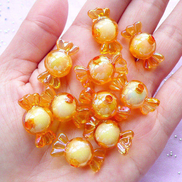 Cute Candy Beads | Kawaii Acrylic Beads | Aurora Borealis Plastic Beads (AB Light Orange / 10 pcs / 11mm x 22mm)