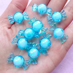 Candy Acrylic Beads | Kawaii Plastic Beads | Aurora Borealis Beads (AB Blue / 10 pcs / 11mm x 22mm)