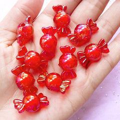 Acrylic Candy Beads | Cute Plastic Beads | Kawaii Beads (AB Red / 10 pcs / 11mm x 22mm)