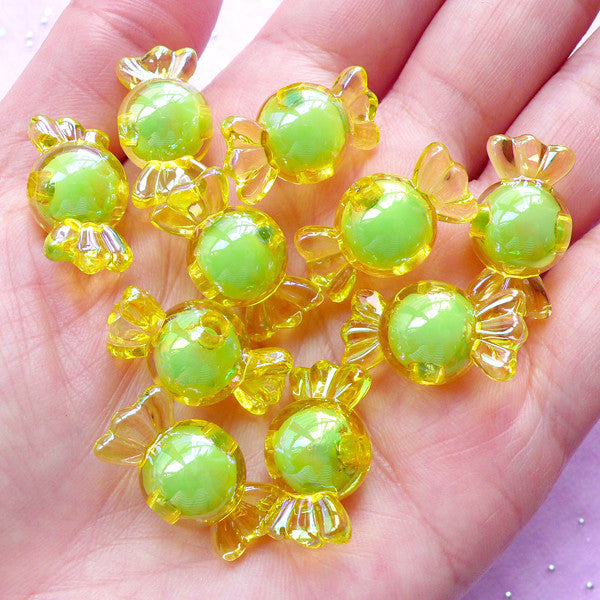 AB Acrylic Beads | Candy Plastic Beads | Cute Beads (Lime Yellow / 10 pcs / 11mm x 22mm)