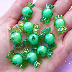 Aurora Borealis Beads | Candy Chunky Bead | Cute Jewelry (AB Green / 10 pcs / 11mm x 22mm)