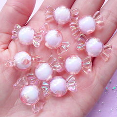 Kawaii Sweet Beads | Candy Beads | Fairy Kei Jewelry (AB Light Pink / 10 pcs / 11mm x 22mm)
