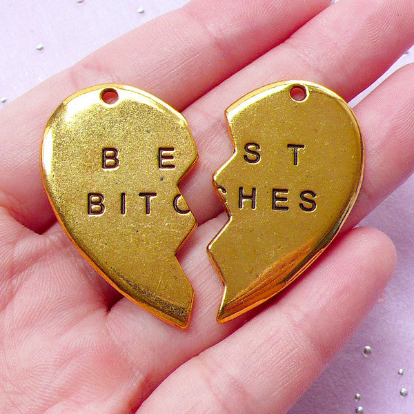 Best Bitches Charm | Gift for Best Friend | Best Bitch Jewelry (Set of 2 pcs / Antique Gold)