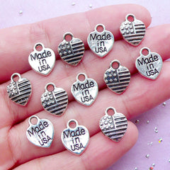 Made in USA Tag Charm | Heart United States Charm | Packaging Supplies (12pcs / Tibetan Silver / 9mm x 12mm / 2 Sided)