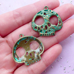 Sugar Skull Charm | Green Patina Mexican Skull Pendant | Halloween Jewelry & Accessory Making (4pcs / Antique Bronze / 27mm x 27mm)