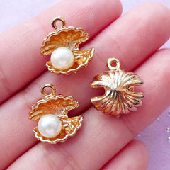 Gold Seashell Charm with Pearl | Small Sea Shell Pendant | Beach Jewelry & Accessory Making (3 pcs / 13mm x 15mm)