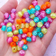 Acrylic Alphabet Beads | Letter Bead | Name Jewelry Making (You Pick Letters or We Pick By Random / 7mm / Translucent Colorful Mix)