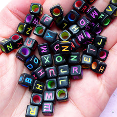 Alphabet Beads | Acrylic Initial Cube Bead | Message Jewellery Making (You Pick Letters or We Pick By Random / 6mm / Black & Neon Color Mix)