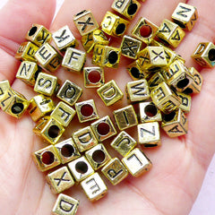 Gold Alphabet Beads | Plastic Letter Bead in Cube Shape | Name Jewellery DIY (6mm / You Pick Letters or We Pick By Random)