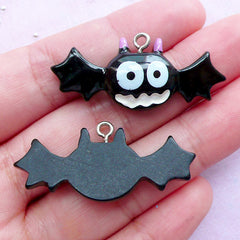 Kawaii Bat Resin Charms | Halloween Decoration | Kawaii Goth Decoden Charms (Black / 2 pcs / 39mm x 16mm)