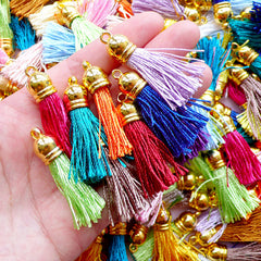 Thread Tassel Charm with Gold Cap | Everyday Jewelry & Accessory Making (Assorted Random Color / 4 pcs)