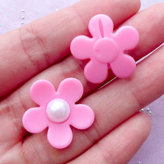 Acrylic Flower Beads with Pearl | Hair Bow Center | Fairy Kei Jewelry Making (Pastel Pink / 5 pcs / 23mm x 22mm)