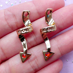 Amour Devil Tail Charms with Rhinestone | Love Pendant | Valentine's Day Gift Idea (Gold / 2 pcs / 11mm x 34mm)
