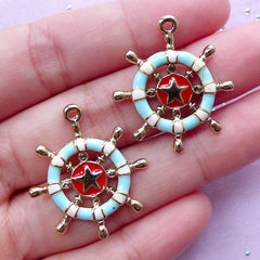 Nautical Charms with Enamel | Ship Wheel Pendant | Planner Charm Making (Gold / 2 pcs / 25mm x 28mm)