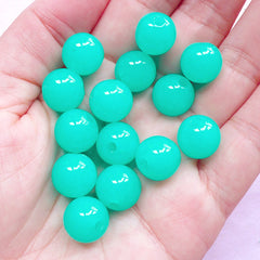 Bubblegum Beads in 12mm | Chunky Ball Beads | Acrylic Candy Color Bead (Teal Blue Green / 20pcs)