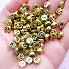 Round Alphabet Acrylic Beads | Initial Letter Name Message | Resin Craft (You Pick Letters or We Pick By Random / 7mm / Gold)