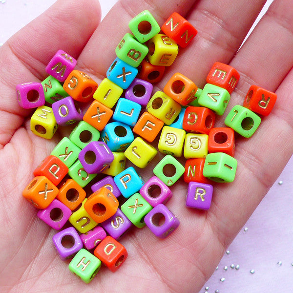 Colorful Alphabet Beads in Cube Shape | Acrylic Letter Bead | Kawaii Resin Craft (You Pick Letters or We Pick By Random / 6mm / Bright Color Mix)