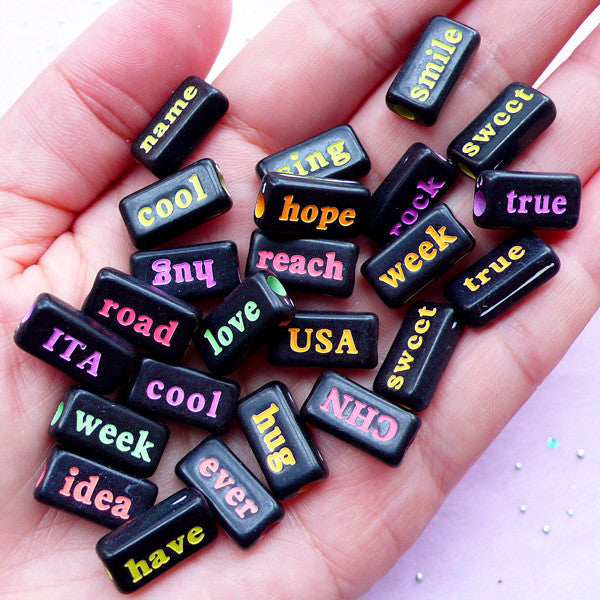 Acrylic Word Beads | Text Bead Assortment | Kawaii Resin Craft (Assorted Black & Neon Color / 20 pcs / 15mm x 8mm / 2 Sided)
