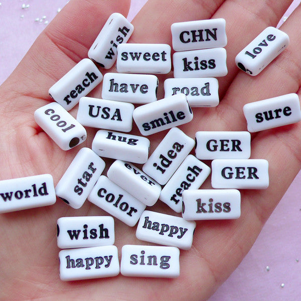 Acrylic Text Beads | Assorted Word Bead | Resin Cabochon Making (Black & White / 20 pcs / 15mm x 8mm / 2 Sided)