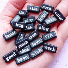 Assorted Text Bead | Word Acrylic Beads | Resin Craft (Black & White / 20 pcs / 15mm x 8mm / 2 Sided)