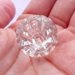 Acrylic Rhombus Beads | Clear Chunky Beads | Bling Bling Embellishment (Transparent / 3 pcs / 23mm x 24mm)