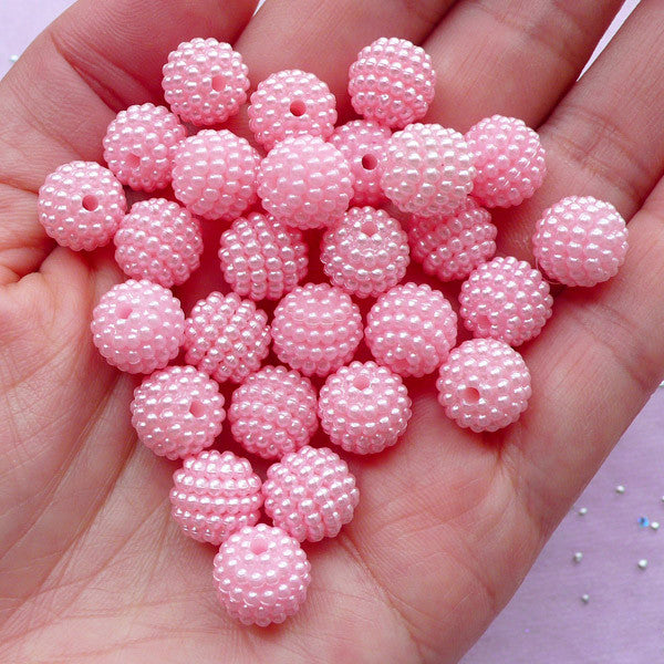 Acrylic Berry Beads in 10mm | Chunky Gumball Beads | Kawaii Bead Supply (Pastel Pink / 15pcs)