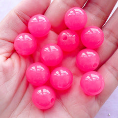 Gumball Acrylic Beads | Jelly Candy Bead | Chunky Plastic Beads (14mm / Translucent Dark Pink / 12pcs)